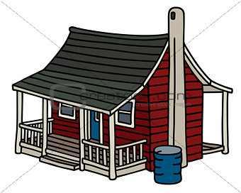 Classic red scandinavian planked house