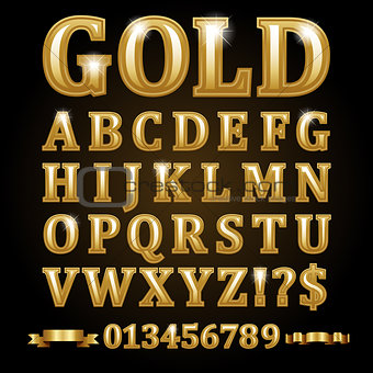 Gold alphabetical letters isolated on black