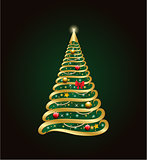 Golden decorative christmas tree with abstract decorations