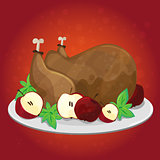Thanksgiving day. Greeting card with turkey, apples - Vector cartoon
