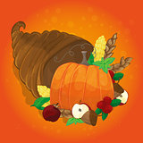 thanksgiving card with decorative pumpkin. colorful design
