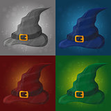 illustration of tall witch hat on abstract background - halloween card