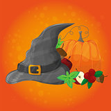 Halloween poster, banner or background. Vector illustration with pumpkin and hat