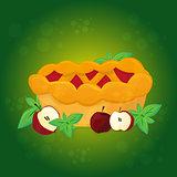 Apple pie and Apples - vector cartoon illustration