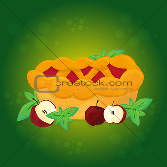 Apple pie and Apples - vector cartoon illustration