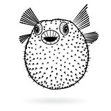 Puffer fish fugu silhouette sharp icon, vector illustration tattoo, cartoon style for T-shirts