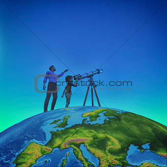 A man showed him a child telescope starry sky