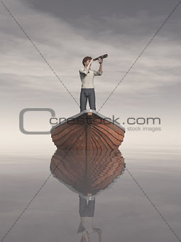 Man in a boat looking