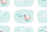 Hand drawn vector abstract cartoon summer time fun illustration seamless patttern print with pink flamingo and unicorn buoy ring in blue swimming pool texture isolated on white background