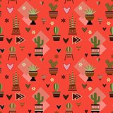 seamless red background with cactuses