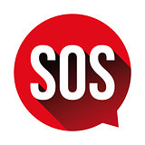 SOS emergency sign red