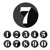 Vintage number set round black