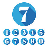 Vintage number set round blue