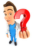 3d doctor holding a question mark icon