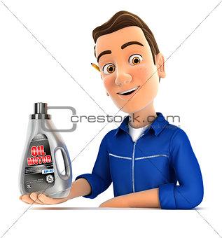 3d mechanic presenting oil motor canister