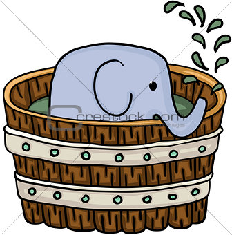 Little elephant inside wooden tub for a bath