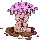 Little pig in the mud with umbrella