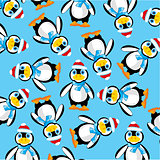 Penguins on turn blue background
