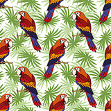 Seamless, Parrot and Leaves