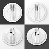 Fork and knife with plates set