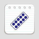 Pills blister doodle icon