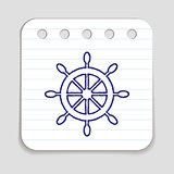 Doodle ship wheel icon
