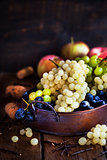 Fresh ripe white, green and purple grape