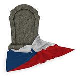grabstein und tschechische flagge
