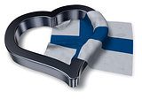 flag of finland and heart symbol - 3d rendering