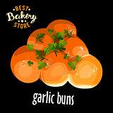 Bakery shop vector garlic buns
