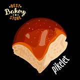 Butter sweet bun for dinner vector. Baked bread product.