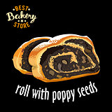 Baked sliced roll with poppy seeds vector. Baked bread product.