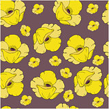 Seamless pattern with yellow poppy flowers on dark background. Perfect for wallpapers, wrapping papers, pattern fills, textile