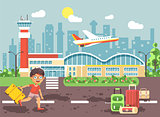 Vector illustration cartoon character late delay boy runs to bags and suitcases standing at airport, departing plane, awaiting for travel trip holiday weekend flat style city background