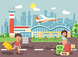 Vector illustration cartoon character late boy run to little brunette girl standing at airport, departing plane, bag suitcases awaiting for travel trip holiday weekend flat style city background