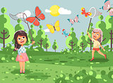 Vector illustration cartoon character lonely children, young naturalist, biologist two girls catch colorful butterflies with net, scoop-net, hoop-net on nature outdoor background in flat style