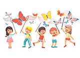 Vector illustration isolated cartoon character children, young naturalists, biologist boys and girls catch colorful butterflies with nets, scoop-nets, hoop-nets on white background in flat style
