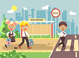 Vector illustration cartoon characters children, observance traffic rules, boys and girl schoolchildren classmates go to road pedestrian crossing, bus stop background, back to school flat style