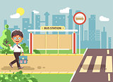 Vector illustration cartoon characters child, observance traffic rules, lonely brunette boy schoolchild, pupil go to road pedestrian crossing on bus stop background, back to school in flat style