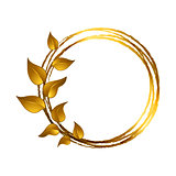 Decorative frame with leaves made in gold color.