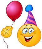 Birthday emoticon with balloon