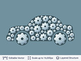 Car silhouette filled with gears.