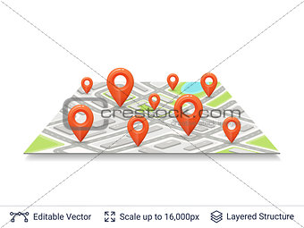 Abstract city plan with location pins.