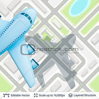 Abstract city plan and airplane.