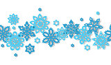 Seamless border snowflakes isolated on white background.