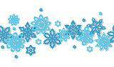 Seamless border snowflakes isolated on white background.