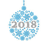 Happy New Year 2018 snowflake christmas ball holiday congratulation card.