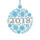Happy New Year 2018 snowflake christmas ball holiday congratulation card.