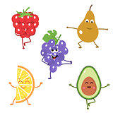 Set of funny characters from fruits engaged in yoga.