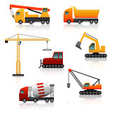 icon construction equipment   crane, scoop, mixer with reflectio